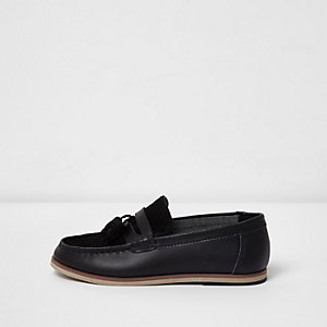 Boys black leather and suede tassel loafers