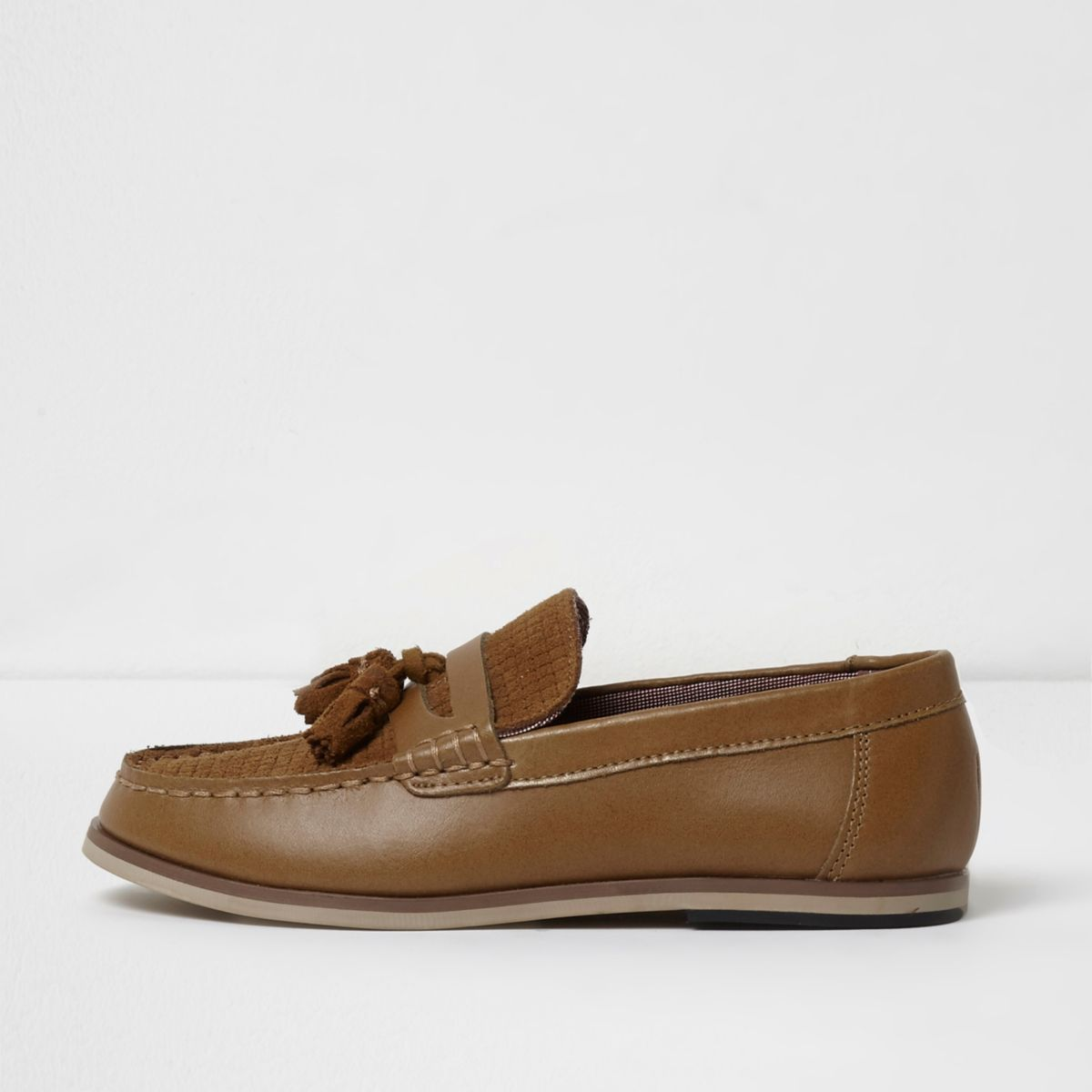 Boys tan leather and suede tassel loafers