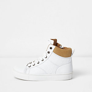 Boys white double tongue hi top trainers