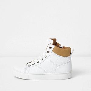 Witte hoge sneakers met dubbele tong voor jongens