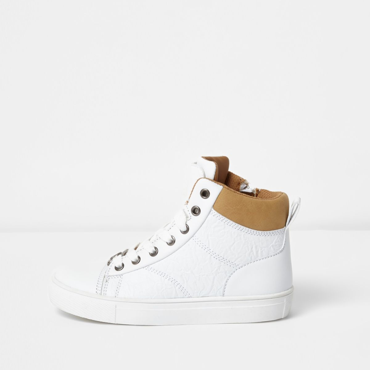 Boys white double tongue high top trainers