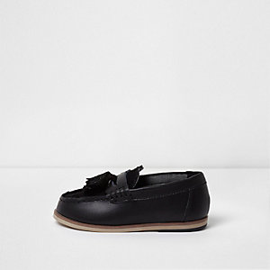 Mini boys black tassel loafers