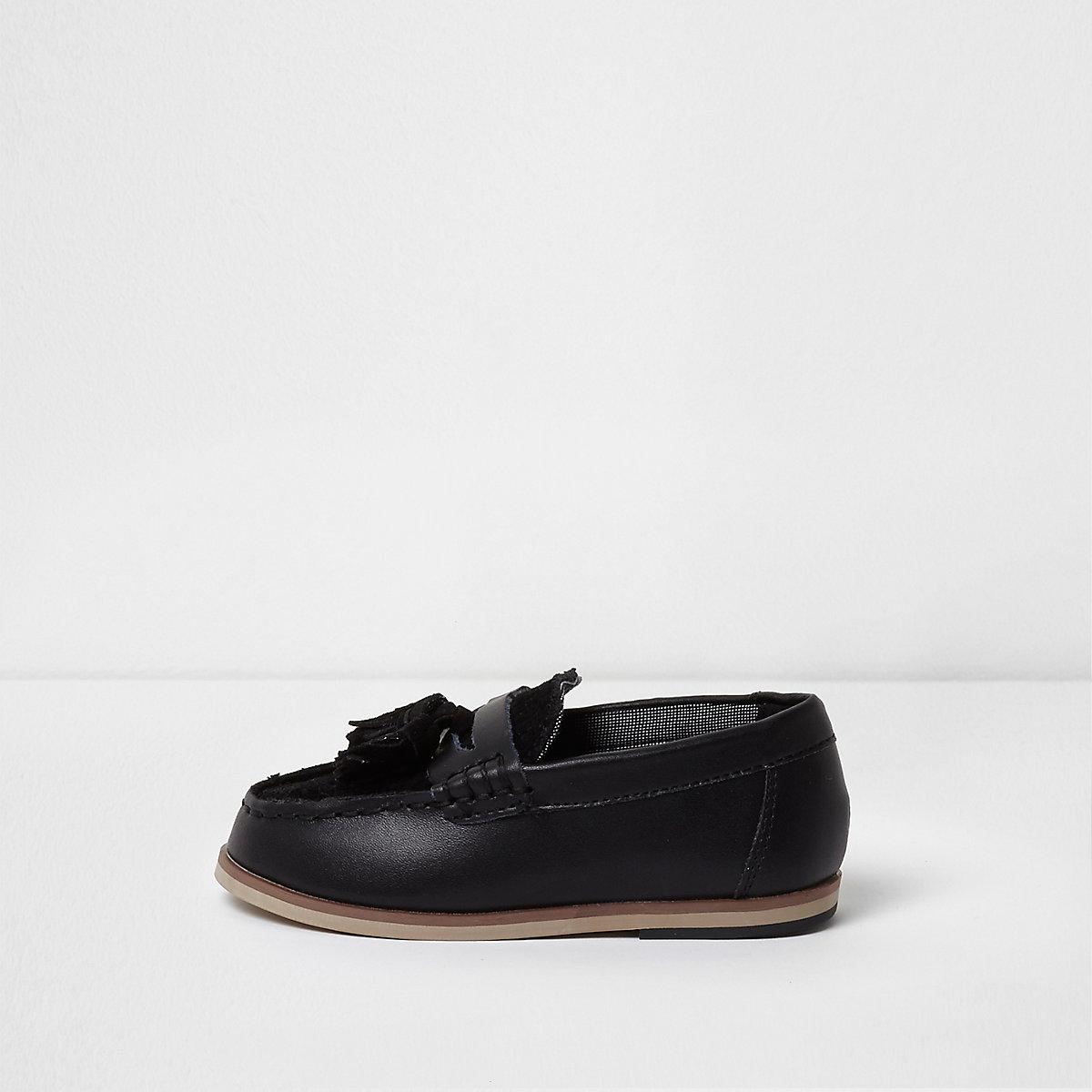 Mini boys black tassel loafers