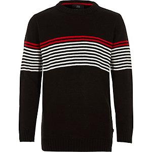 Boys black stripe panel crew neck jumper