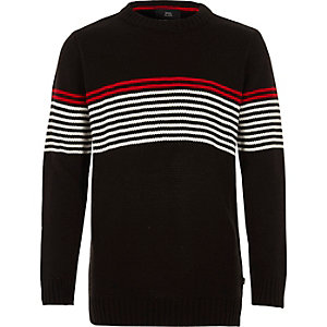Boys black stripe panel crew neck sweater