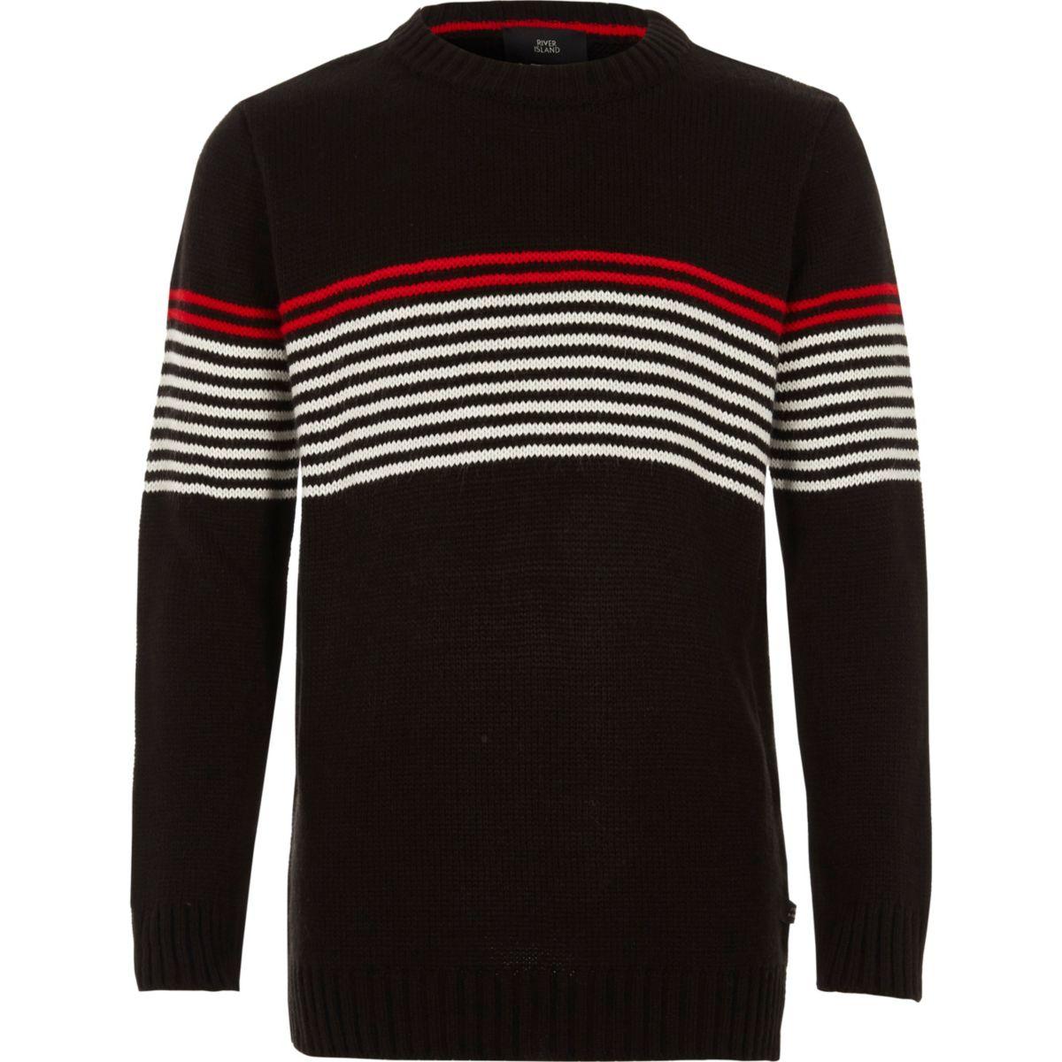 Boys black stripe panel crew neck sweater