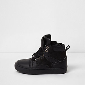 Mini boys black double tongue hi top trainers