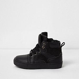 Mini - Zwarte hoge sneakers met dubbele tong voor jongens
