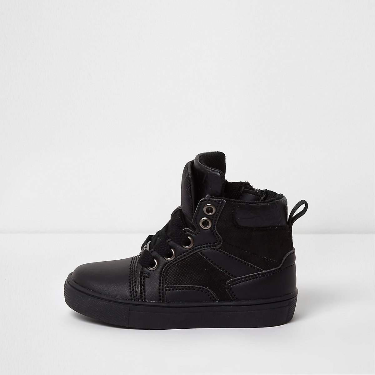 Mini boys black double high top trainers