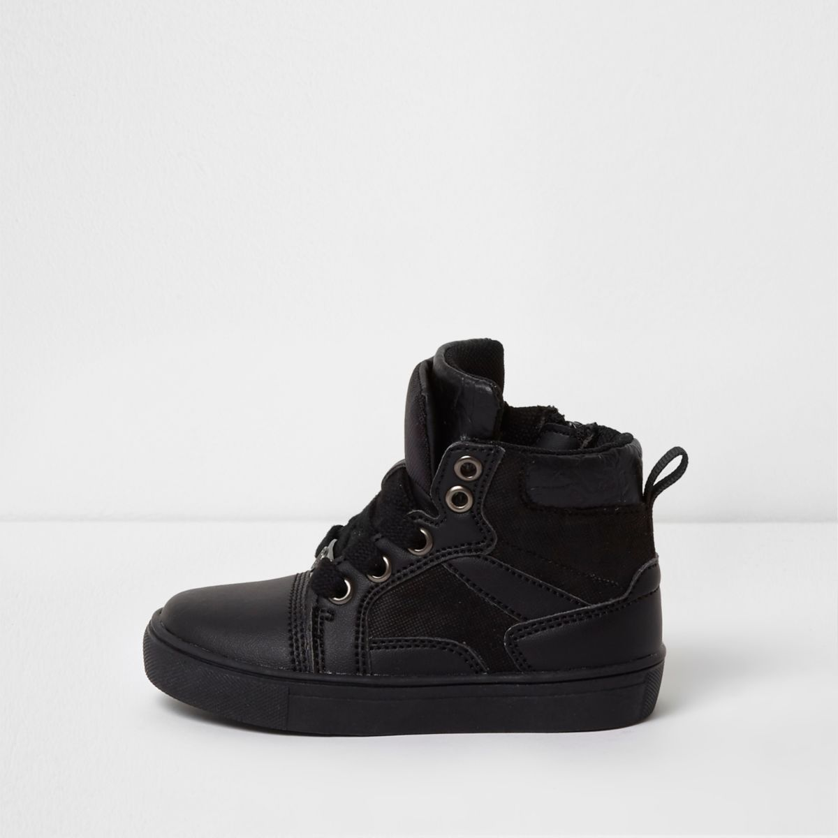 Mini boys black double high top sneakers