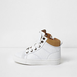 Mini boys white double tongue hi top trainers