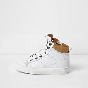 Mini - Witte hoge sneakers met dubbele tong voor jongens