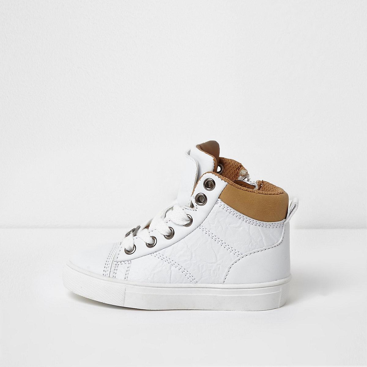 Mini boys white double high top sneakers