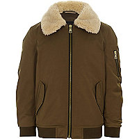 Boys brown faux fur collar flight jacket