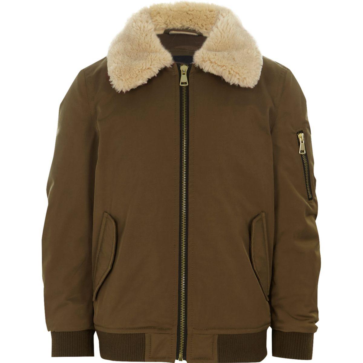 Boys brown faux fur collar flight jacket