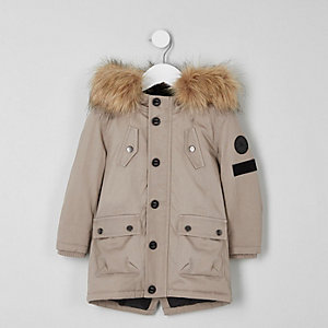 Mini boys stone faux fur hood parka coat