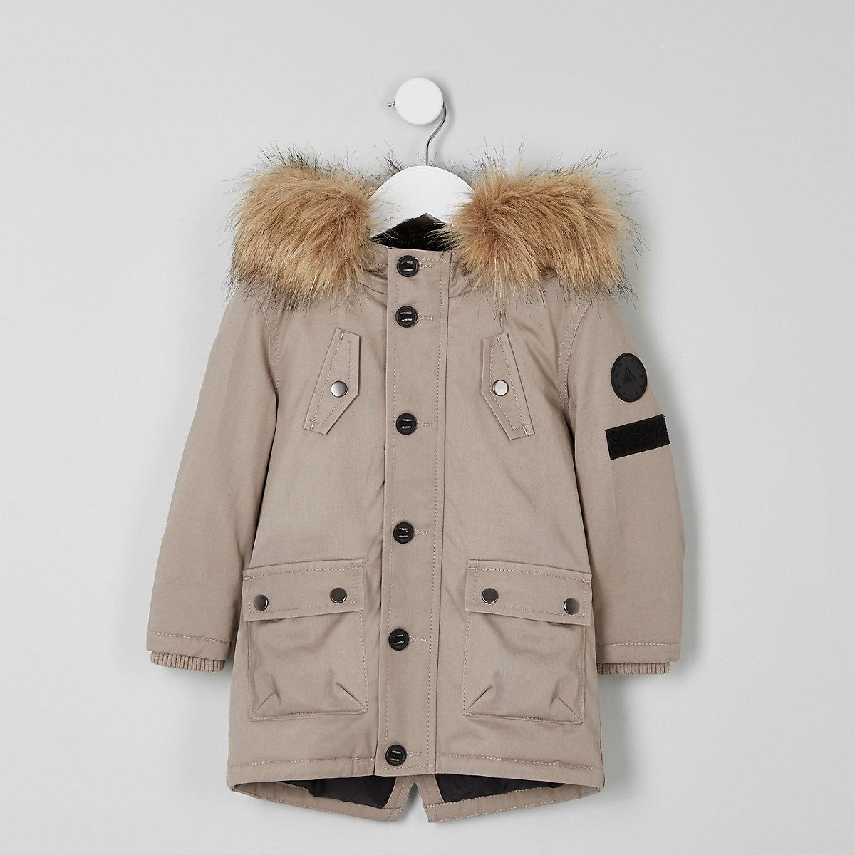 Mini boys stone faux fur hood parka coat
