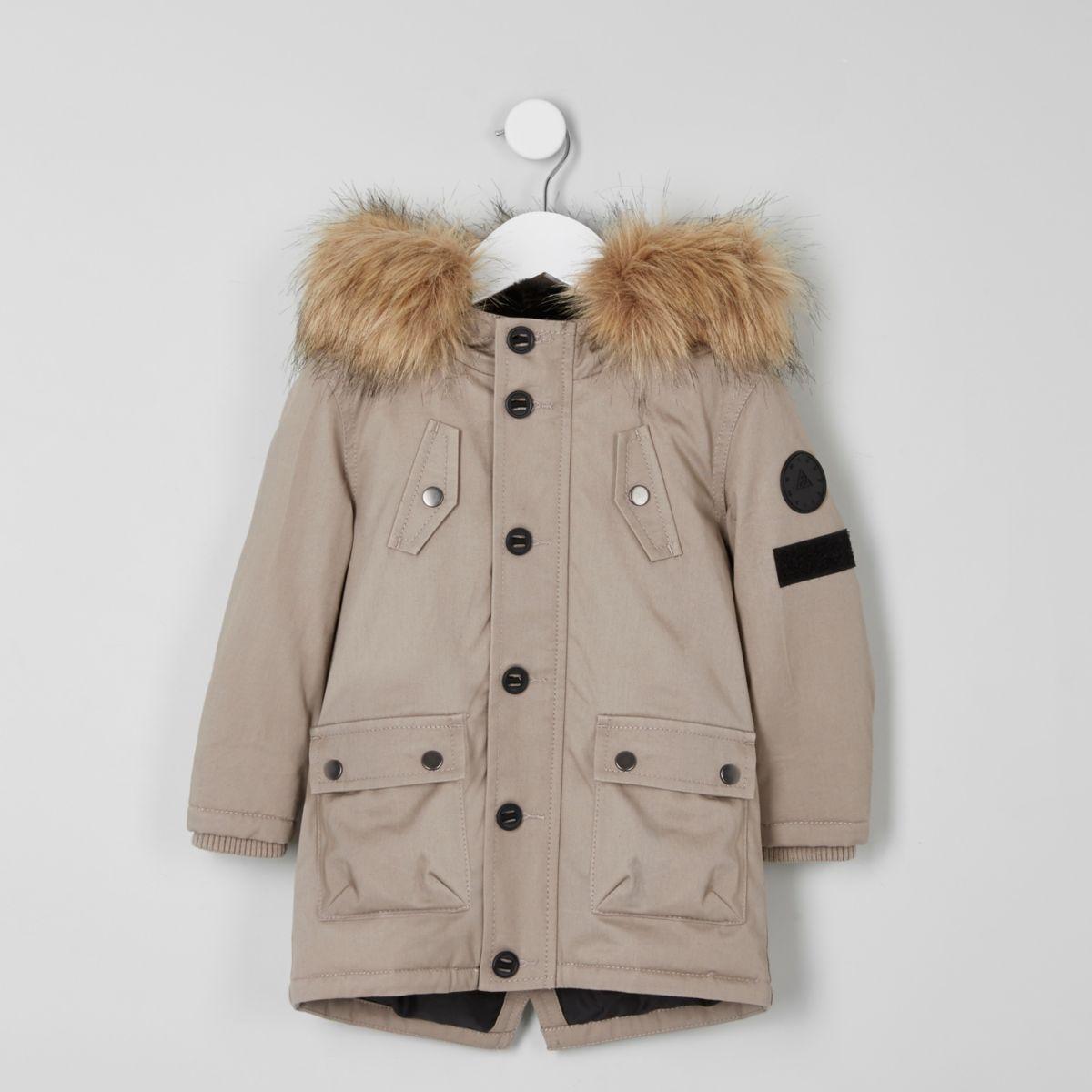 Mini boys stone faux fur hood parka coat - Baby Boys Coats ...