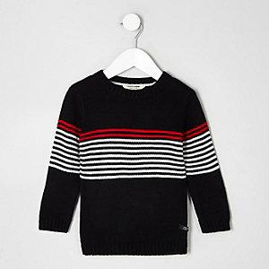 Mini boys black stripe panel crew neck jumper