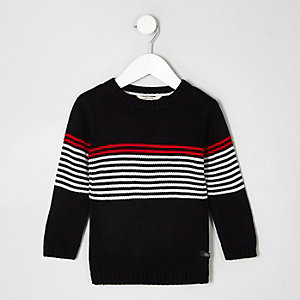 Mini - Zwarte pullover met gestreept paneel en ronde hals voor jongens