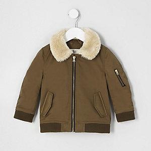 Mini boys brown faux fur collar flight jacket