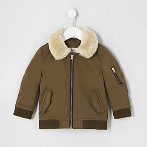 Mini boys brown faux fur collar flight jacket