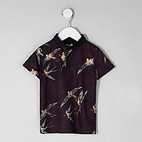 Mini boys  purple bird print polo shirt