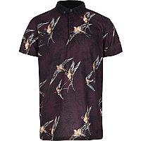 Boys purple bird print polo shirt
