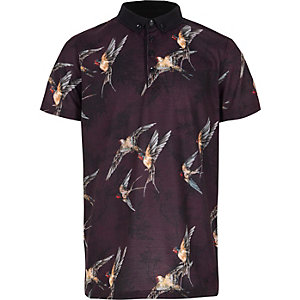 Boys purple bird print polo shirt