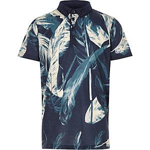 Boys navy leaf print polo shirt