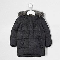 Mini - Grijze gewatteerde jas met capuchon van imitatiebont voor jongens