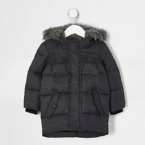 Mini boys grey faux fur hood puffer coat