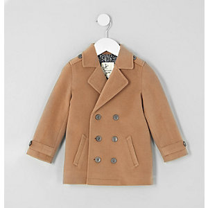 Mini boys camel double breasted peacoat