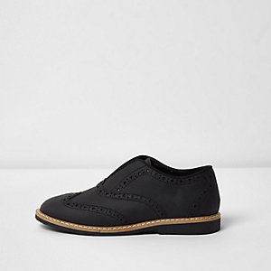 Boys black laceless brogues