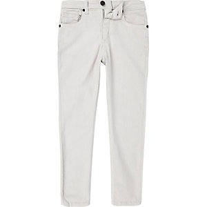 Sid - Kiezelkleurige wash skinny jeans voor jongens