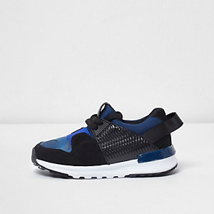 Mini boys blue camo insert runner trainers