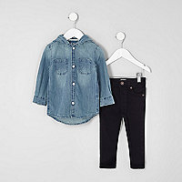 Mini boys blue denim hoodie and jeans outfit