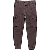 Boys dark grey cargo trousers