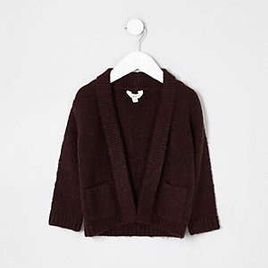 Mini boys dark red faux suede patch cardigan