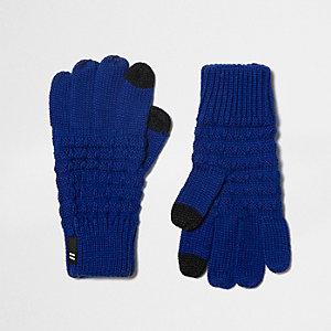 Kobaltblauwe gebreide touchscreen-handschoenen voor jongens