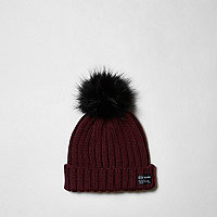 Boys burgundy pom pom knit beanie hat
