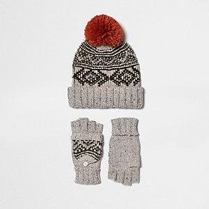 Set met crème handschoenenen en beanie-muts met fairisle-print voor jongens