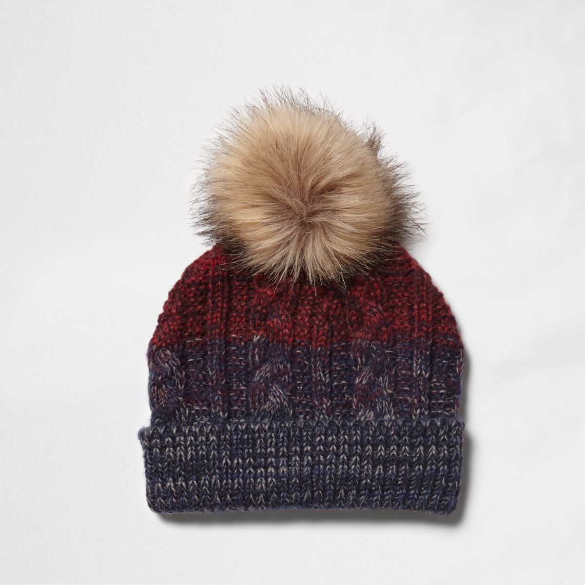 Boys navy and red ombre knit beanie hat