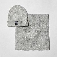 Boys light grey beanie hat and snood set