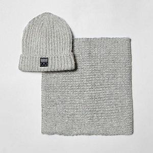 Ensemble écharpe tube et bonnet gris clair pour garçon