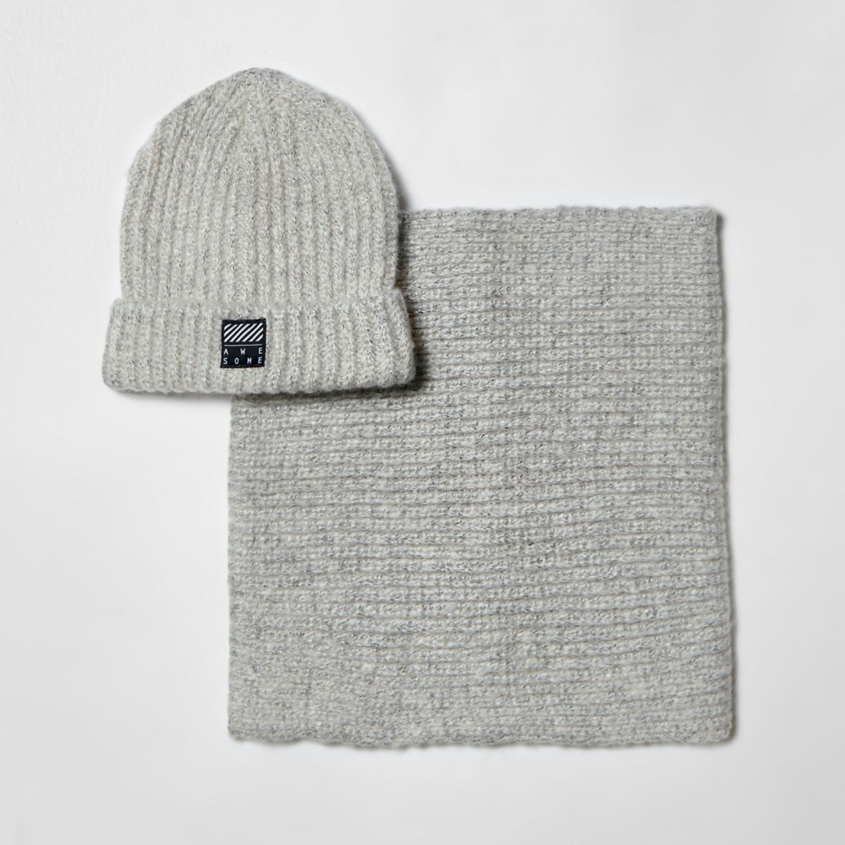 Boys light grey beanie hat and snood set