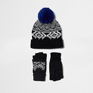 Boys black Fairisle hat and mittens set