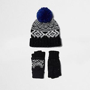 Ensemble moufles et bonnet en jacquard noir pour garçon