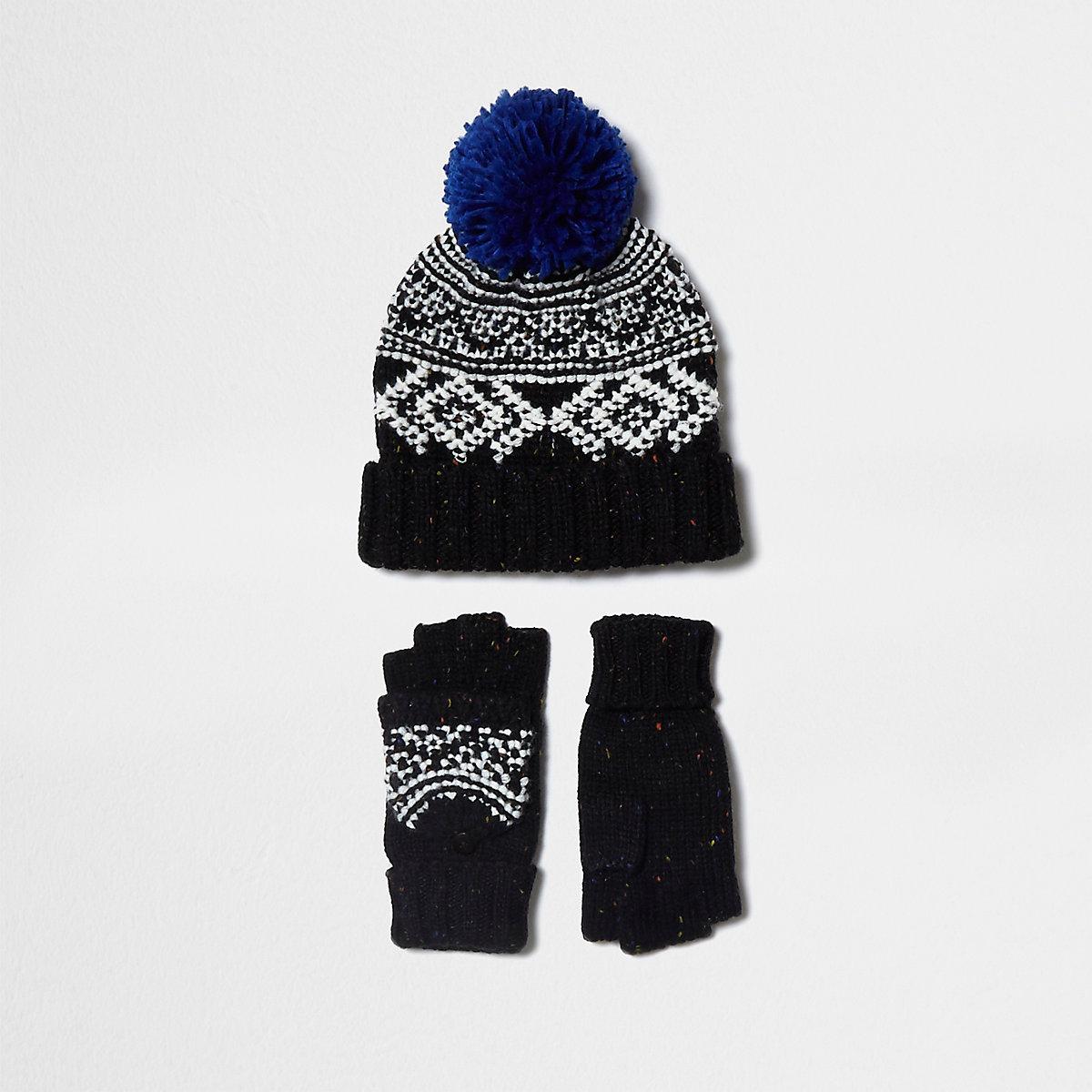16079816ffde9 Boys black Fairisle hat and mittens set - Accessories - Sale - boys