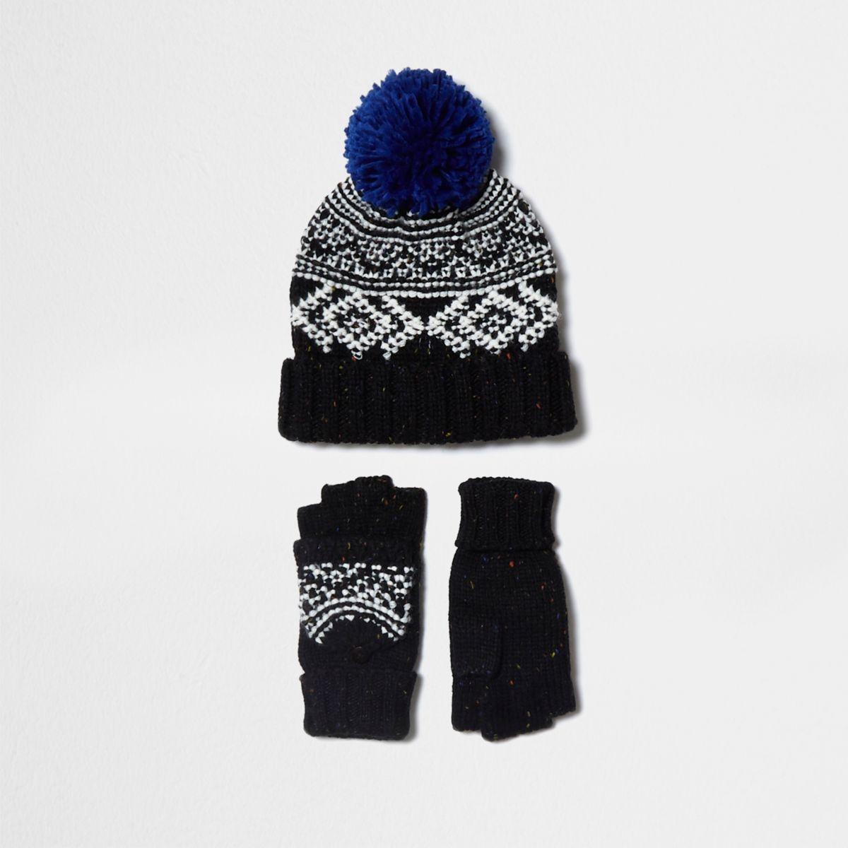 Boys black Fairisle hat and mittens set